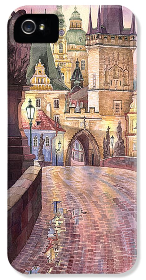 Watercolour IPhone 5 Case featuring the painting Prague Charles Bridge Night Light 1 by Yuriy Shevchuk
