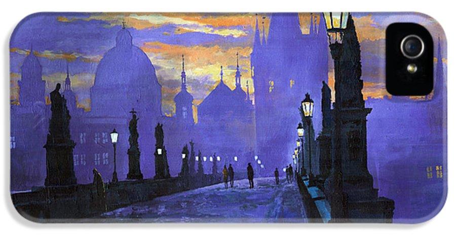 Acrilic On Canvas IPhone 5 Case featuring the painting Prague Charles Bridge Sunrise by Yuriy Shevchuk