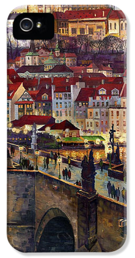 Prague IPhone 5 Case featuring the painting Prague Charles Bridge With The Prague Castle by Yuriy Shevchuk