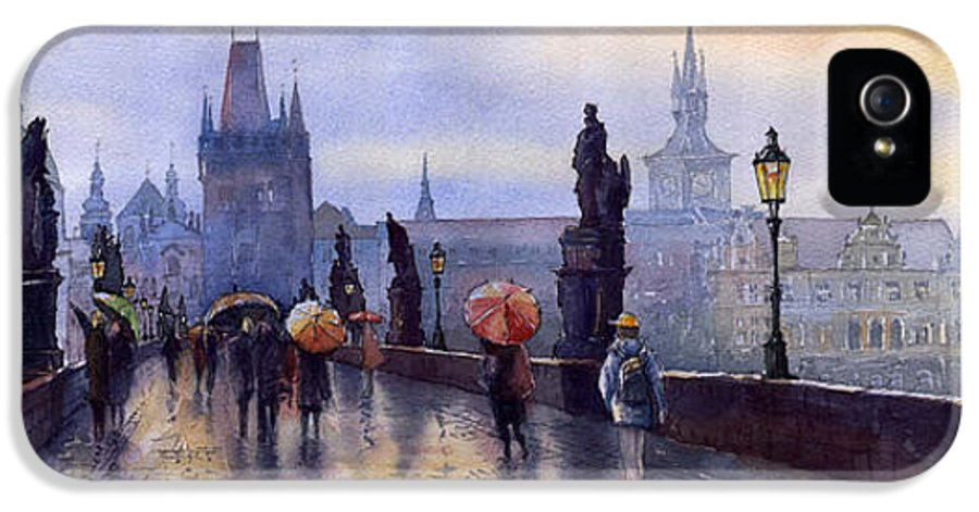 Cityscape IPhone 5 Case featuring the painting Prague Charles Bridge by Yuriy Shevchuk
