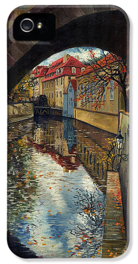 Oil IPhone 5 Case featuring the painting Prague Chertovka 3 by Yuriy Shevchuk