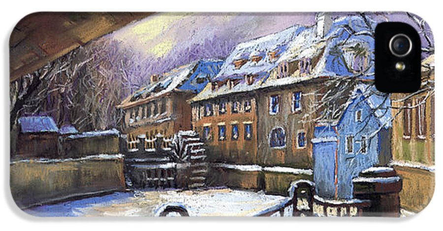 Pastel IPhone 5 / 5s Case featuring the painting Prague Chertovka Winter 01 by Yuriy Shevchuk