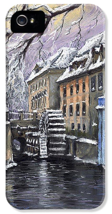 Pastel IPhone 5 Case featuring the painting Prague Chertovka Winter by Yuriy Shevchuk