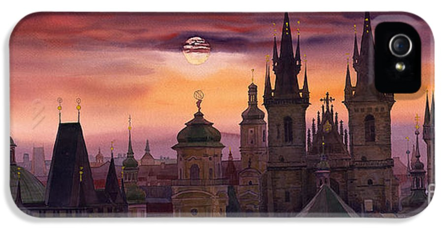 Cityscape IPhone 5 Case featuring the painting Prague City Of Hundres Spiers by Yuriy Shevchuk