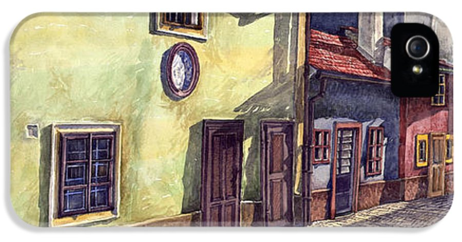 Watercolour IPhone 5 Case featuring the painting Prague Golden Line Street by Yuriy Shevchuk