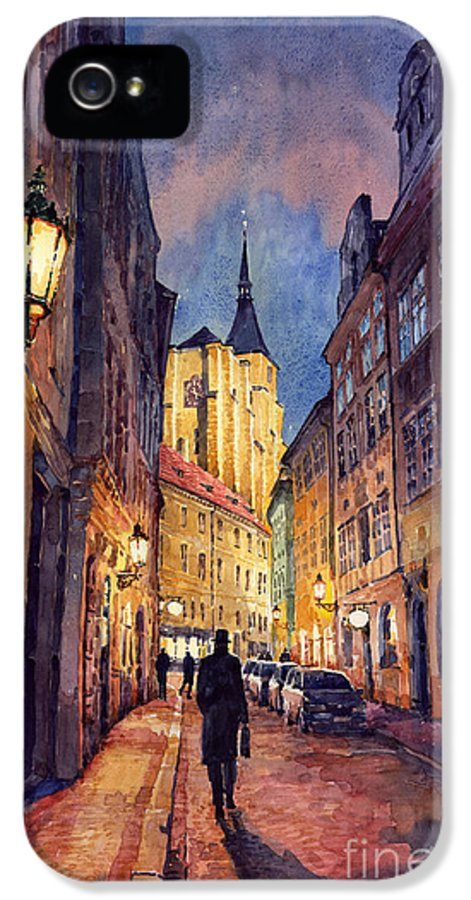 Architecture IPhone 5 Case featuring the painting Prague Husova Street by Yuriy Shevchuk