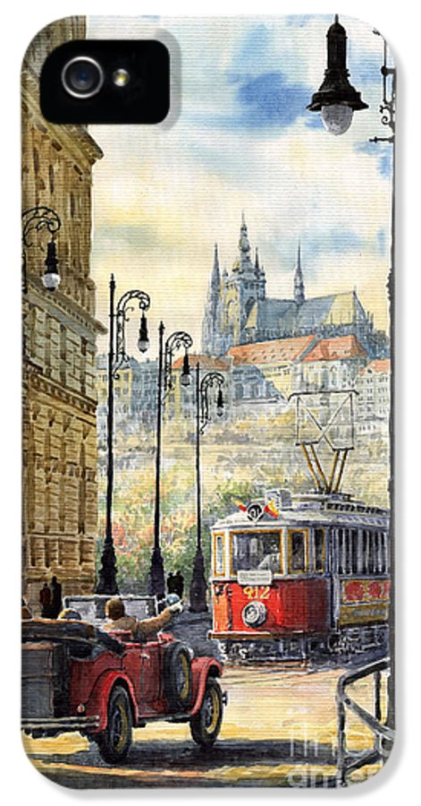 Architecture IPhone 5 Case featuring the painting Prague Kaprova Street by Yuriy Shevchuk