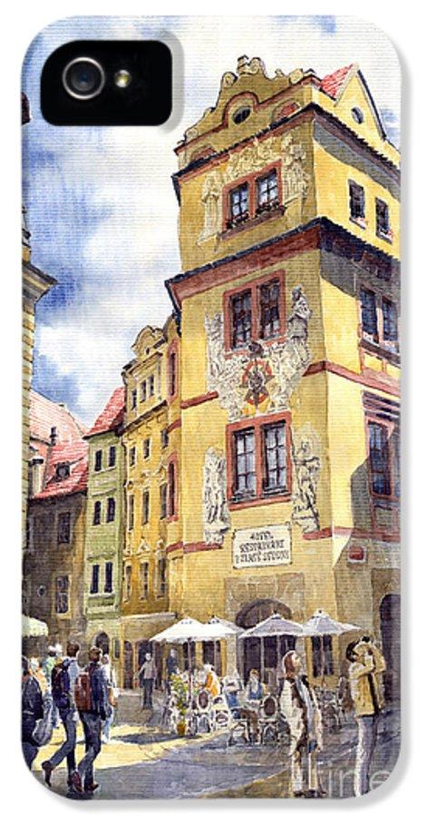 Architecture IPhone 5 Case featuring the painting Prague Karlova Street Hotel U Zlate Studny by Yuriy Shevchuk