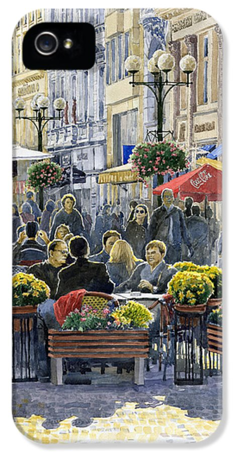 Watercolor IPhone 5 Case featuring the painting Prague Mustek First Heat by Yuriy Shevchuk