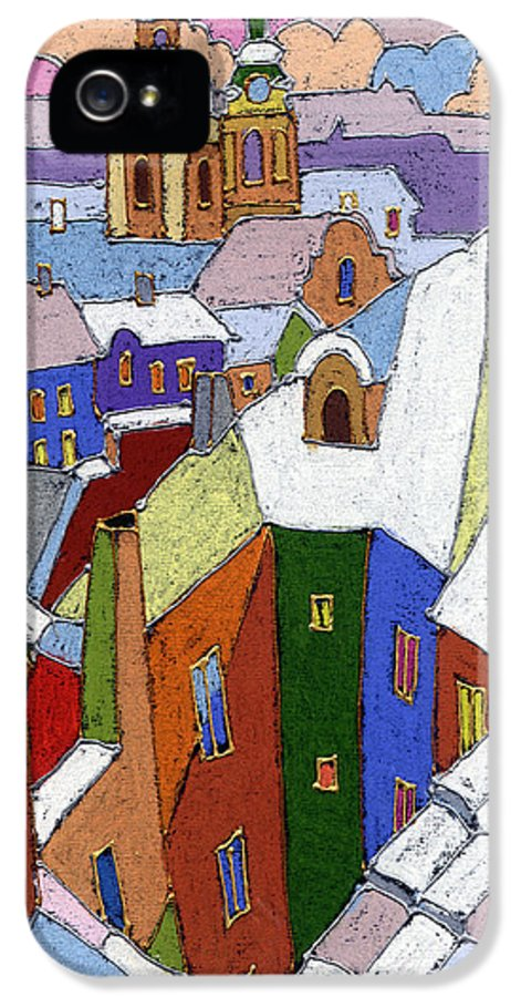 Pastel IPhone 5 Case featuring the painting Prague Old Roofs Winter by Yuriy Shevchuk