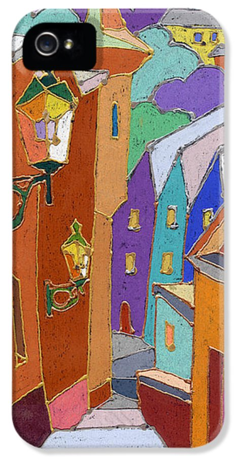 Pastel IPhone 5 Case featuring the painting Prague Old Steps Winter by Yuriy Shevchuk