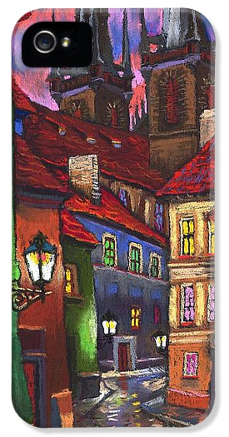 Pastel IPhone 5 Case featuring the painting Prague Old Street 01 by Yuriy Shevchuk