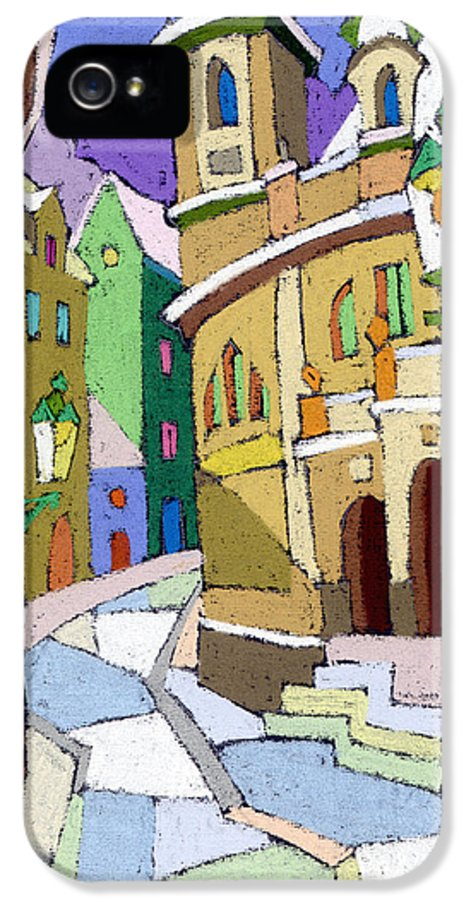 Pastel IPhone 5 / 5s Case featuring the painting Prague Old Street Karlova Winter by Yuriy Shevchuk