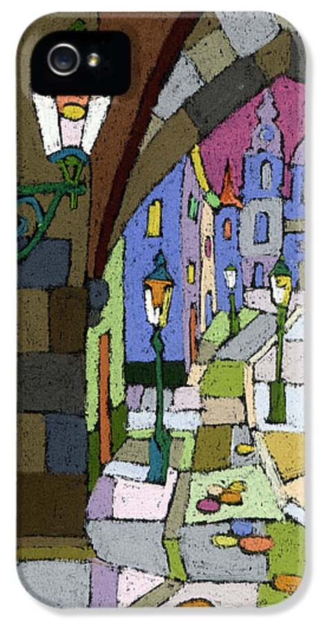 Pastel IPhone 5 Case featuring the painting Prague Old Street Mostecka by Yuriy Shevchuk