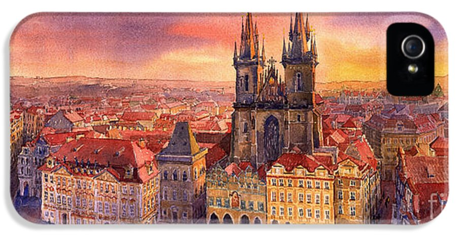 Watercolour IPhone 5 Case featuring the painting Prague Old Town Square 02 by Yuriy Shevchuk