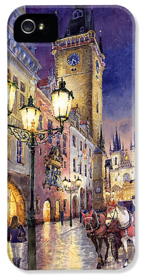 Cityscape IPhone 5 Case featuring the painting Prague Old Town Square 3 by Yuriy Shevchuk