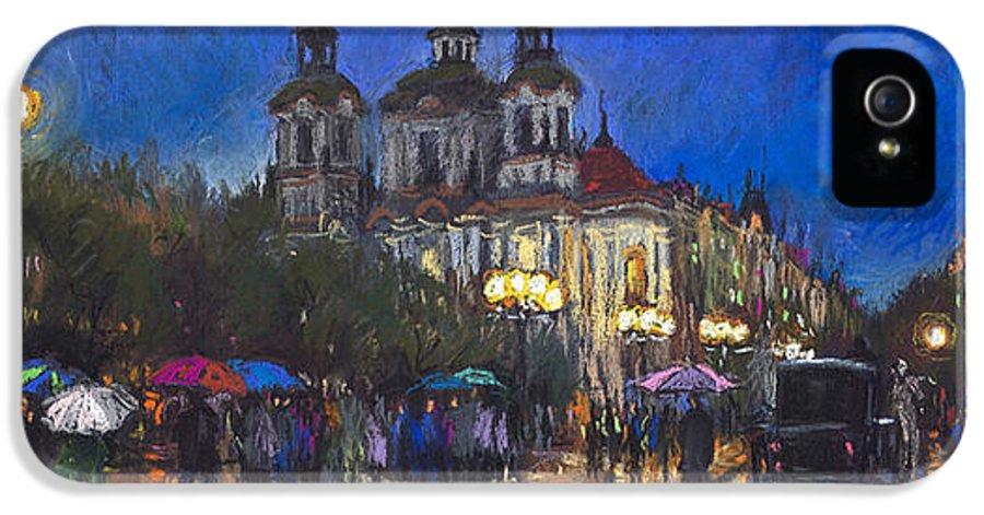 Prague IPhone 5 Case featuring the pastel Prague Old Town Square St Nikolas Ch by Yuriy Shevchuk