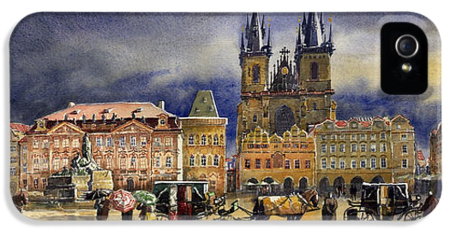 Watercolor IPhone 5 Case featuring the painting Prague Old Town Squere After Rain by Yuriy Shevchuk
