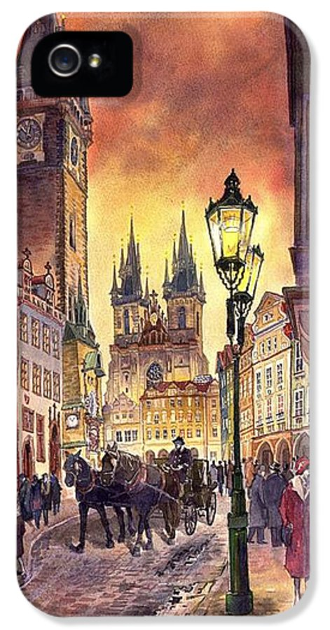 Cityscape IPhone 5 Case featuring the painting Prague Old Town Squere by Yuriy Shevchuk