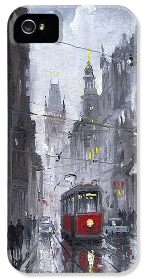 Oil On Canvas IPhone 5 Case featuring the painting Prague Old Tram 03 by Yuriy Shevchuk