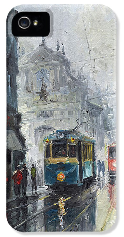 Oil On Canvas IPhone 5 Case featuring the painting Prague Old Tram 04 by Yuriy Shevchuk