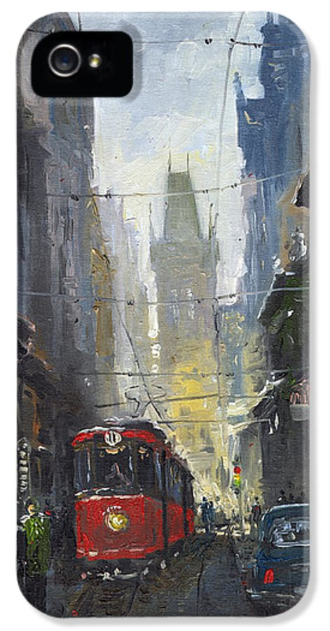 Oil On Canvas Paintings IPhone 5 Case featuring the painting Prague Old Tram 05 by Yuriy Shevchuk