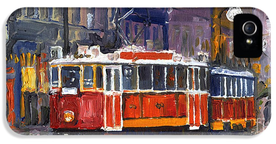 Oil IPhone 5 Case featuring the painting Prague Old Tram 09 by Yuriy Shevchuk