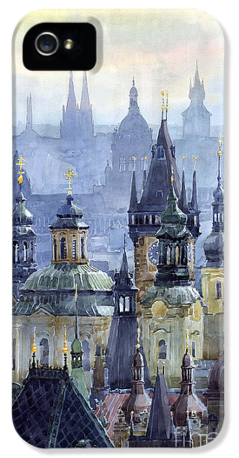 Architecture IPhone 5 Case featuring the painting Prague Towers by Yuriy Shevchuk