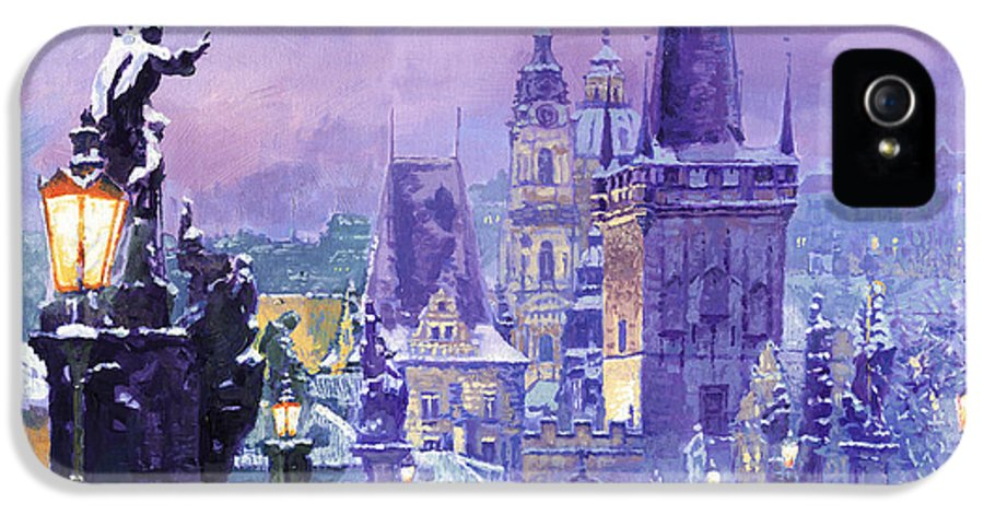 Oil IPhone 5 Case featuring the painting Prague Winter Charles Bridge by Yuriy Shevchuk
