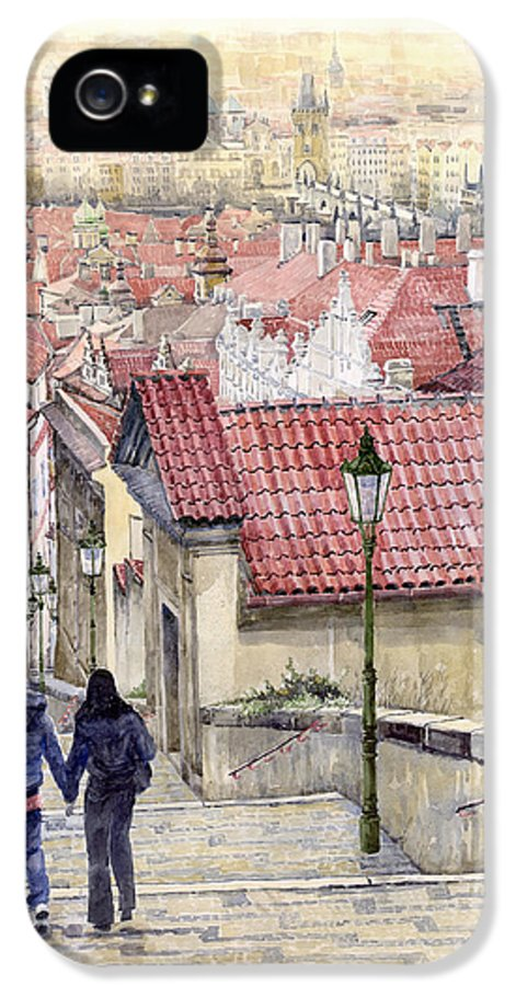 Watercolor IPhone 5 Case featuring the painting Prague Zamecky Schody Castle Steps by Yuriy Shevchuk