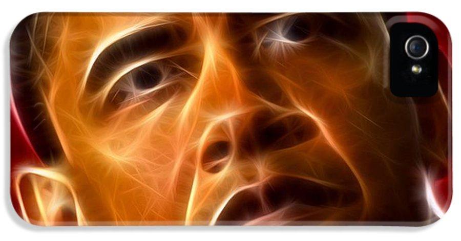 Obama IPhone 5 / 5s Case featuring the mixed media President Barack Obama by Pamela Johnson