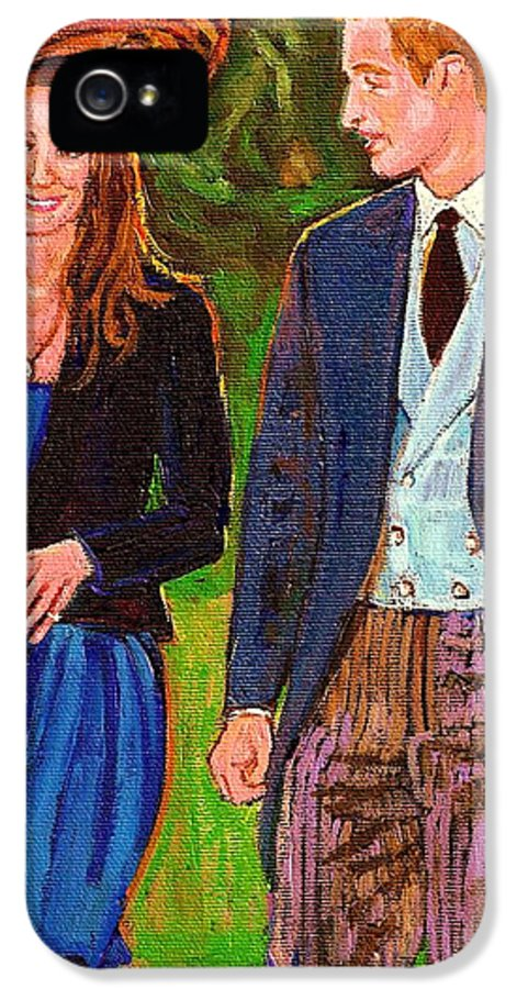 Wills And Kate IPhone 5 / 5s Case featuring the painting Prince William And Kate The Young Royals by Carole Spandau