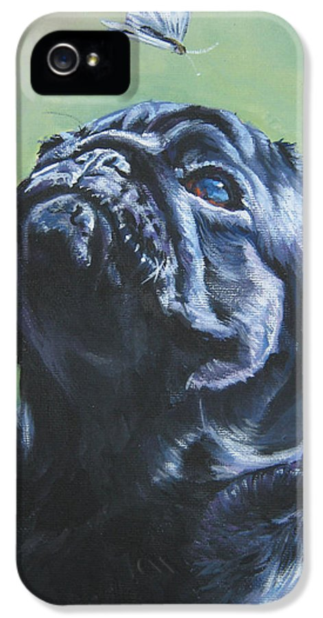 Dog IPhone 5 Case featuring the painting Pug Black by Lee Ann Shepard