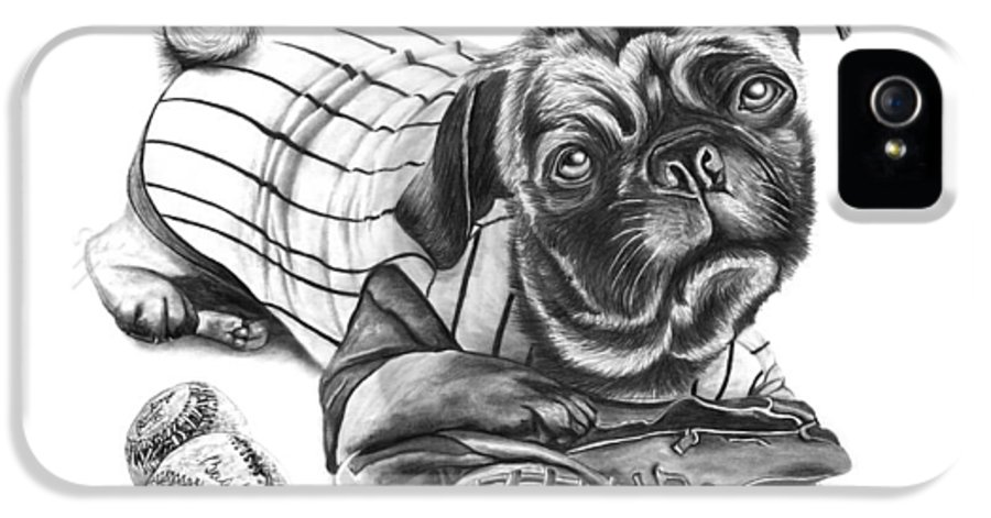 Pug Ruth IPhone 5 Case featuring the drawing Pug Ruth by Peter Piatt