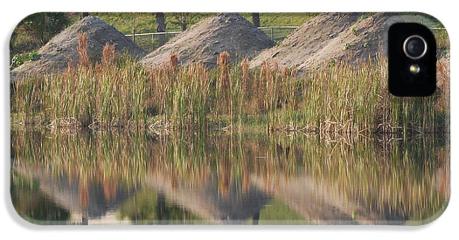 Grass IPhone 5 Case featuring the photograph Pyrimids By The Lakeside Cache by Rob Hans