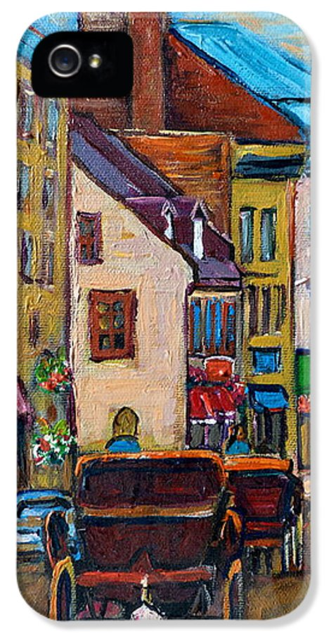 Quebec City IPhone 5 / 5s Case featuring the painting Quebec City Street Scene Caleche Ride by Carole Spandau