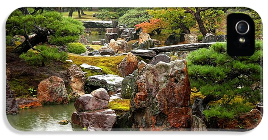 Japan IPhone 5 Case featuring the photograph Rain On Kyoto Garden by Carol Groenen