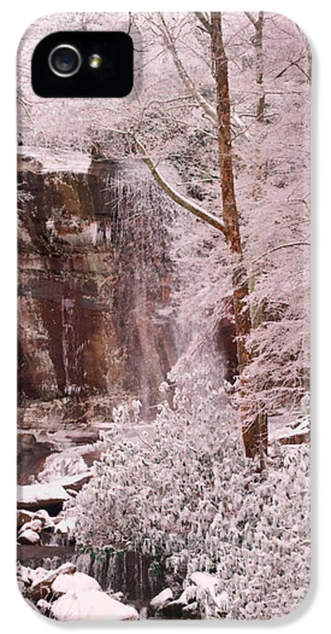 Rainbow IPhone 5 Case featuring the painting Rainbow Falls Smoky Mountain National Park -- Painted Photo. by Christopher Gaston