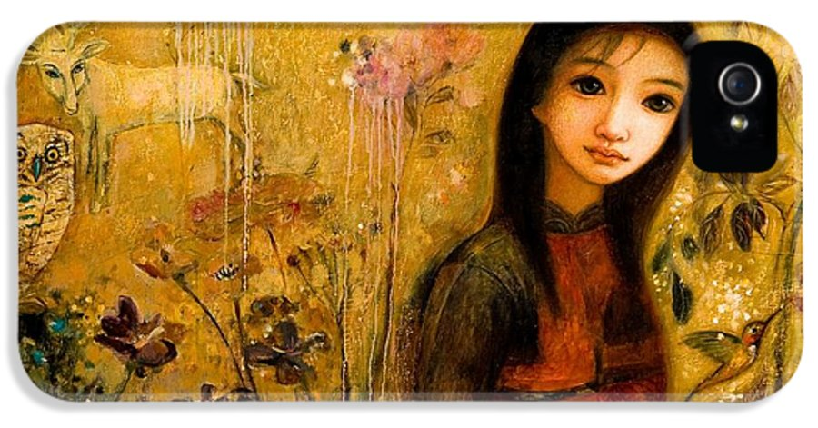Portrait IPhone 5 Case featuring the painting Raining Garden by Shijun Munns