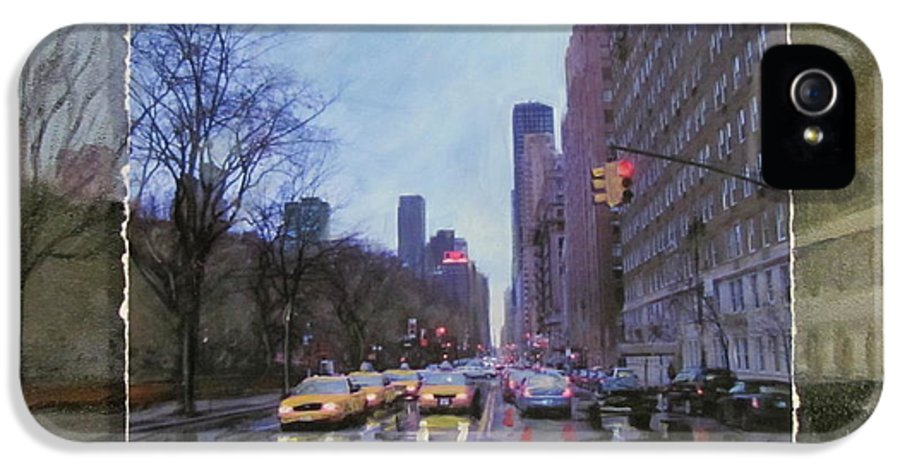 New York IPhone 5 Case featuring the mixed media Rainy City Street Layered by Anita Burgermeister