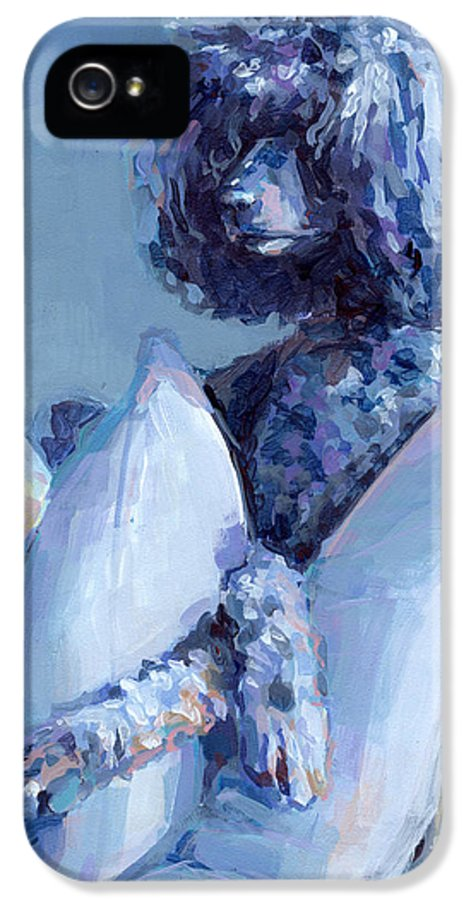 Black Dog IPhone 5 Case featuring the painting Ready For Her Closeup by Kimberly Santini