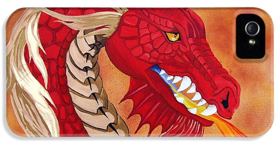 Dragon IPhone 5 Case featuring the painting Red Dragon by Debbie LaFrance