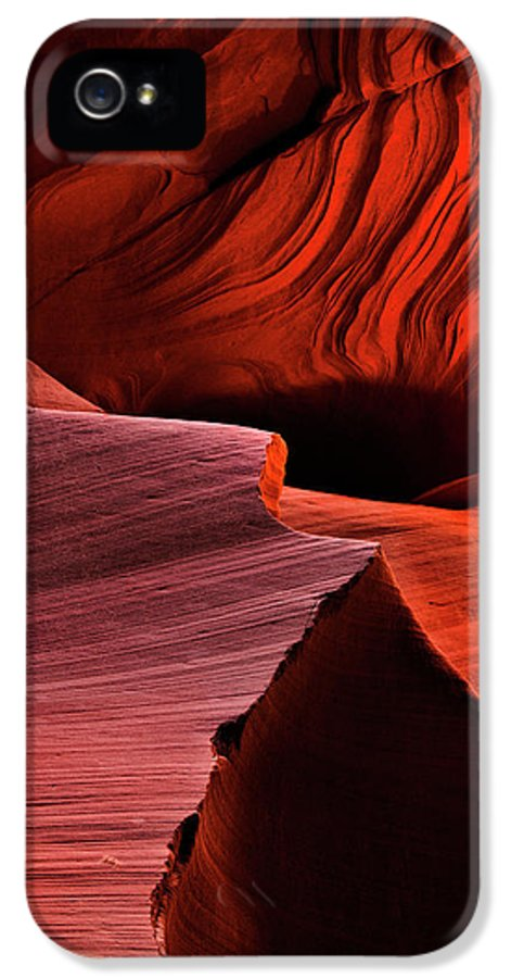 Antelope Canyon IPhone 5 Case featuring the photograph Red Rock Inferno by Mike Dawson