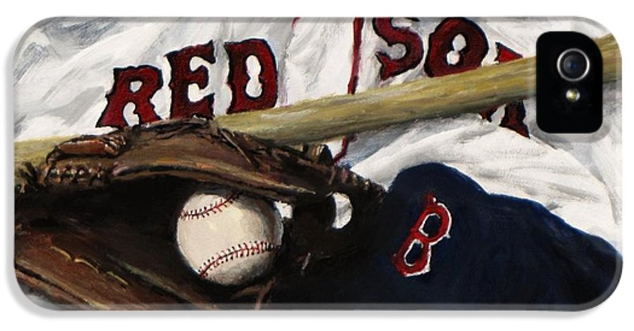 Baseball IPhone 5 Case featuring the painting Red Sox Number Nine by Jack Skinner