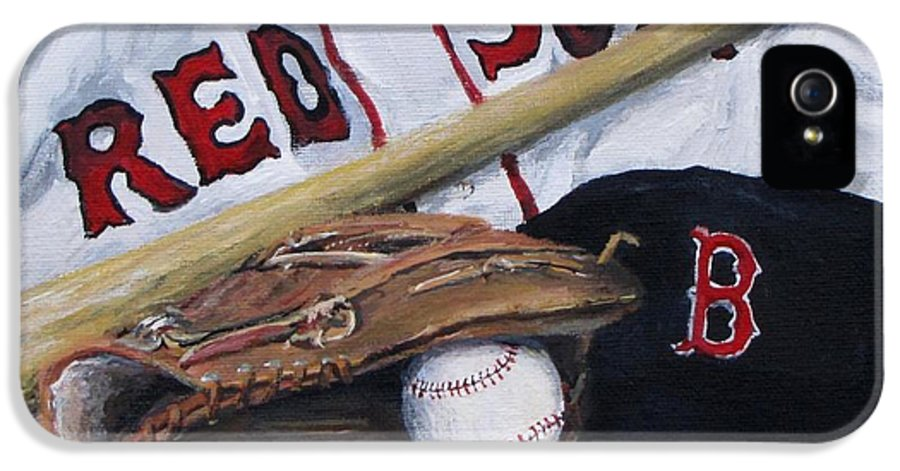 Red Sox IPhone 5 Case featuring the painting Red Sox Number Six by Jack Skinner