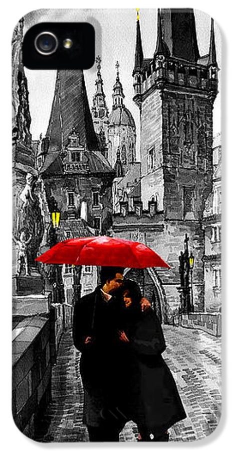 Mix Media IPhone 5 Case featuring the mixed media Red Umbrella by Yuriy Shevchuk