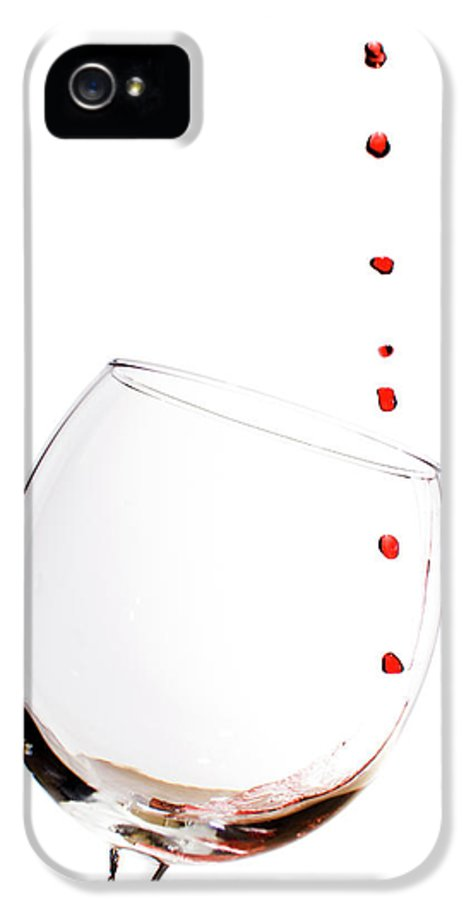 Red Wine IPhone 5 Case featuring the photograph Red Wine Drops Into Wineglass by Dustin K Ryan