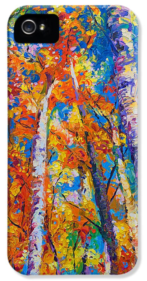 Impresssionist IPhone 5 Case featuring the painting Redemption - Fall Birch And Aspen by Talya Johnson