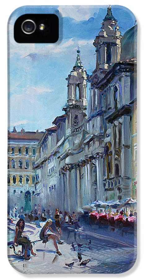Italy IPhone 5 Case featuring the painting Rome Piazza Navona by Ylli Haruni