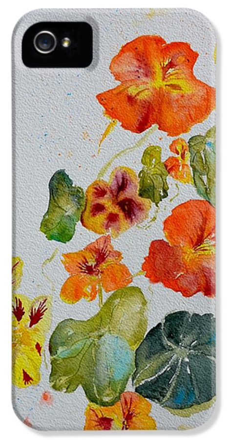 Nasturtiums IPhone 5 Case featuring the painting Room To Move by Beverley Harper Tinsley